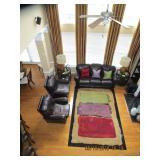2 Story GREAT Room, Leather, Designer Area Rug..
