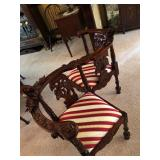 Conversation Chair with High-Relief Renaissance Motifs