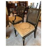 His & Hers Caned Black Laquer Chairs