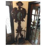 Antique Mirrored Wooden Hall Tree with Shell Umbrella Basin