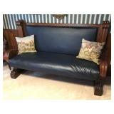 Ornately Carved Blue Leather Settle / Hall Bench with Footrest