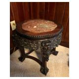 Oriental Carved Rosewood Pedestal Table with Marble Inset