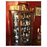Oak Bowed China Cabinet with Paw Foot