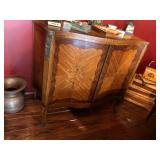 Inlaid 2-Door Scalloped Front Cabinet Cabriole Sabot-Mounted Legs