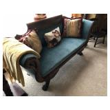 Classical Sofa with Carved Swan Arms & Paw Foot