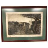 William H. Lippincott signed Engraving on Parchment - Large