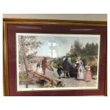 Jennie Brownscombe Colorized Etching Sunday Morning in Sleepy Hollow