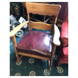 Antique Oak Rocker with Leather Seat