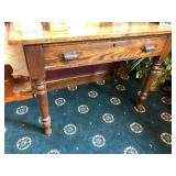 Antique Table with Brass Drawer Pulls