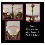 Brass and Frosted Pink Chandelier