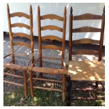 Rush Seat Dark Wood Chair & 2 Ladder Chairs ready for new seats