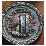 Fenton Christmas 1970- The Little Brown Church in the Vale - Carnival Glass Plate