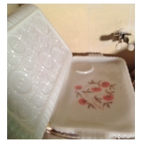 Lovely Tea or Serving Milk Glass and Crystal Trays