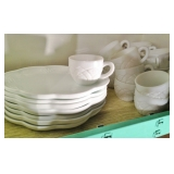 Milk Glass Luncheon Plates and Cups