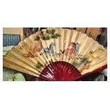 Large Equestrian Scene Oriental Fan