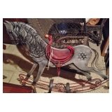 Wood and Metal Rocking Horse Wall Decor - Large