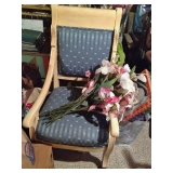 Beautiful Solid Wood and Upholstered Rolling Chair
