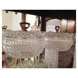 Vintage Pressed Glass Saw Tooth Lidded Dish