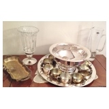 Leonard Silver Plated Serving tray,Oneida Silver Punch Bowl with cups and tray, Badash Pitcher