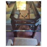 Thomasville Glass Dining Table Close up- Ornate Cherry Solid Wood Support
