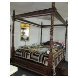 Highly carved canopy bed
