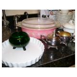 Lots of kitchen ware - see the pink pyrex?