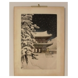 """Ninnaji Temple Gate Snow"" Woodblock"
