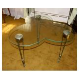 Mid Century Glass Clover End Table