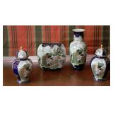 Oriental Peacock Decorated Vases and Jars