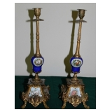Pair French Candlesticks w/HP Plaques