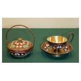 Persian Enamel on Silver w/Gold Wash Basket and Cup & Saucer