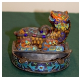 Chinese Hand Spun Silver w/Gold Wash and Enamel Ashtray