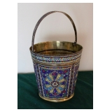 Persian Silver w/Gold Wash Enameled Bucket