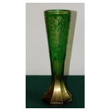 Bohemian Cut Green with Gold Wash Vase