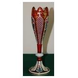 Bohemian Cut to Clear Enameled Vase