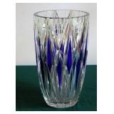 "12"" Bohemian Cobalt Cut to Clear Vase"