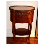 Pair French Inlaid & Bronze End tables