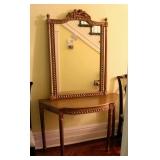 Louis XVI Style Demi Lume Table w/Matching Mirror