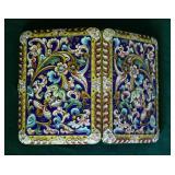 """Art Nouveau Russian Silver & Enamel Cigarette Case 4 1/2"""" x 3 1/4"""""""