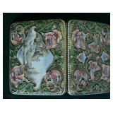 """Rare Art Nouveau Silver Scenic and Enamel Cigarette Case 3 3/4"""" x 3"""""""