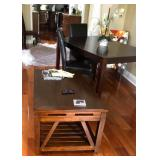PA008 Coffee Table $95, Dinning Table w/ 4 Leather Chairs $250, Cloth Occasional Chair $45, Flower o