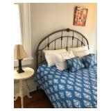 PA018 Bed Frame Sold, Mattress $100, Comforter $20, Distressed Pedestal Table $55, Tin Type Hanging