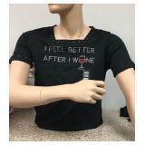 """https://www.ebay.com/itm/124142017336 KB0083: Bedazzled Black """"I FEEL BETTER AFTER WINE"""" Short Sleev"""