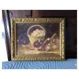 https://www.ebay.com/itm/124123625719 LAN771: Ann Garmson Still Life Fruit and Basket Oil on Canvas