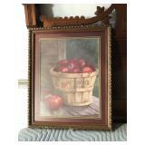 https://www.ebay.com/itm/114154235282 LAN774: Apple Basket Still Life Framed Art Local Pickup $20