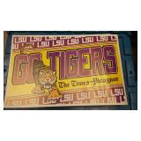 BOX015 VINTAGE LSU GO TIGERS THE TIMES-PICAYUNE DOUBLE SIDED POSTER 11X17 INCHES $$5 Pay online by V