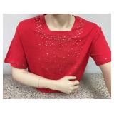 https://www.ebay.com/itm/114171902273KB0080: Bedazzled Red Short Sleeve Shirt with Silver and Gold