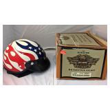 https://www.ebay.com/itm/124145399719KB0089: Harley Davidson Red White and Blue Flame Open Face Hel