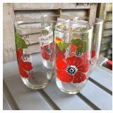 LAN0815: (4)1980s Floral Pattern Water Glasses Local Pickup $5 Pay online by Venmo: @Rafael-Monzon-1