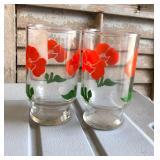 LAN0818 (2) 1980 Floral Pattern OJ Glasses Local Pickup $5 Pay online by Venmo: @Rafael-Monzon-1, Pa